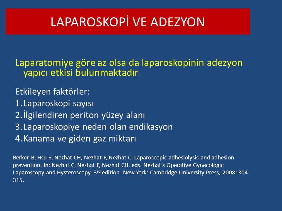 LAPAROSKOPİ VE ADEZYON Laparatomiye göre az olsa da laparoskopinin adezyon yapıcı etkisi bulunmaktadır. Etkileyen faktörler: 1.Laparoskopi sayısı 2.İl