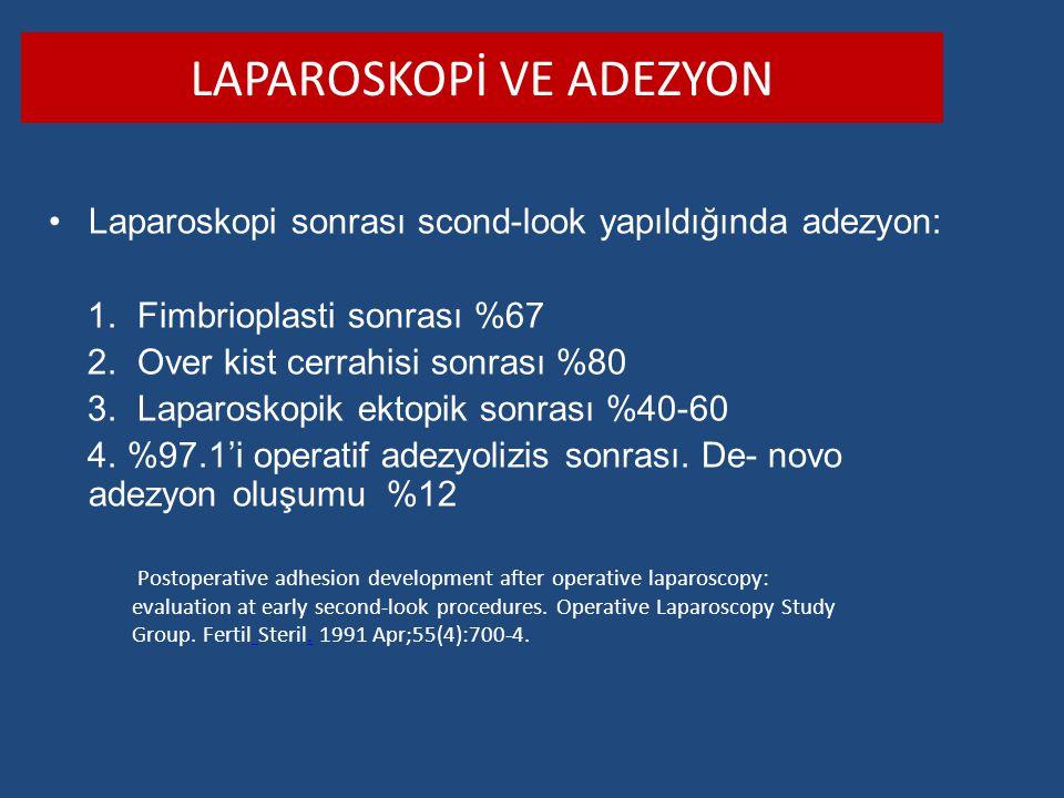 LAPAROSKOPİ VE ADEZYON Laparoskopi sonrası scond-look yapıldığında adezyon: 1. Fimbrioplasti sonrası %67 2. Over kist cerrahisi sonrası %80 3. Laparos