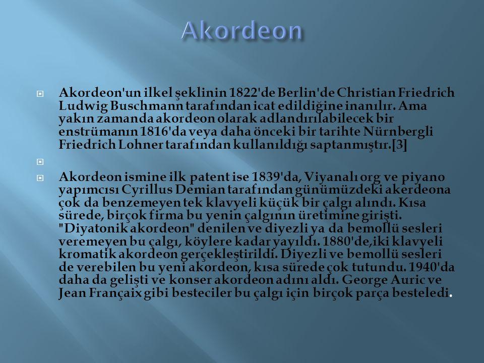  Akordeon'un ilkel şeklinin 1822'de Berlin'de Christian Friedrich Ludwig Buschmann tarafından icat edildiğine inanılır. Ama yakın zamanda akordeon ol