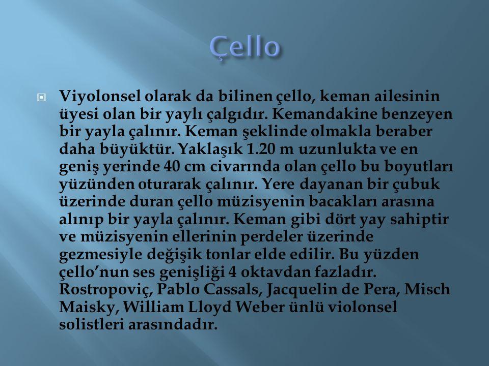  Viyolonsel olarak da bilinen çello, keman ailesinin üyesi olan bir yaylı çalgıdır. Kemandakine benzeyen bir yayla çalınır. Keman şeklinde olmakla be