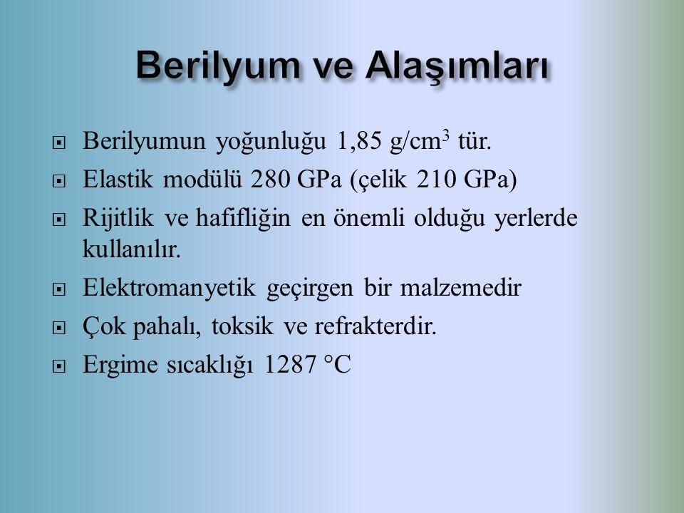  Berilyumun yoğunluğu 1,85 g/cm 3 tür.  Elastik modülü 280 GPa (çelik 210 GPa)  Rijitlik ve hafifliğin en önemli olduğu yerlerde kullanılır.  Elek