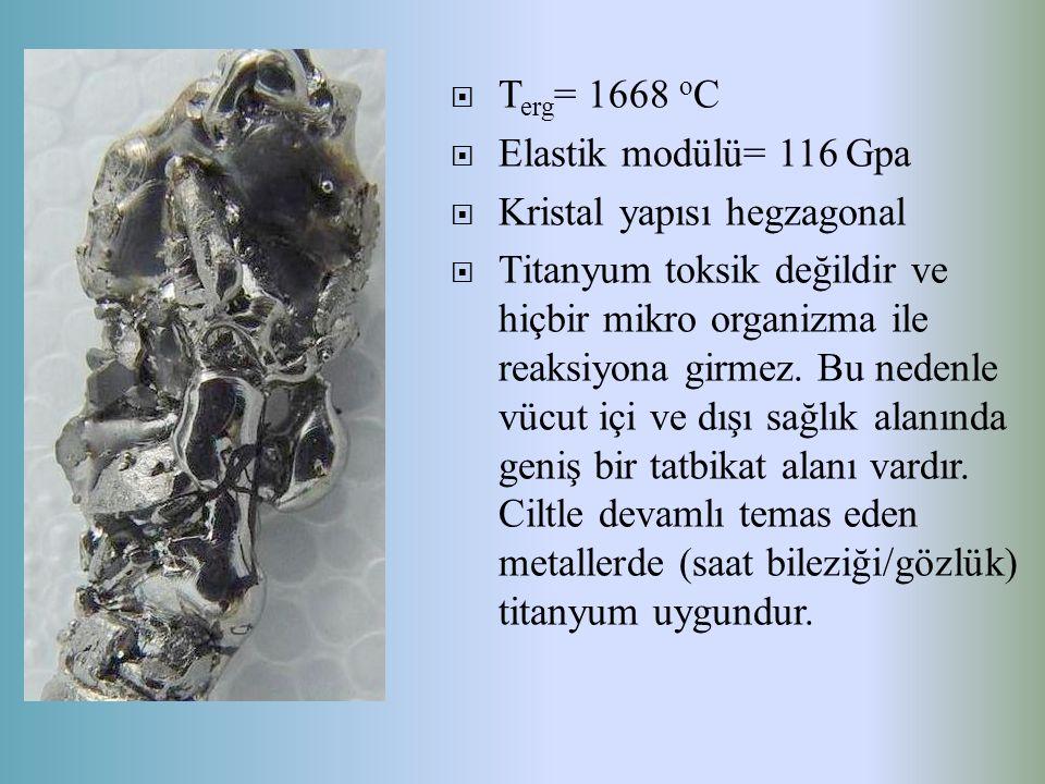  T erg = 1668 o C  Elastik modülü= 116 Gpa  Kristal yapısı hegzagonal  Titanyum toksik değildir ve hiçbir mikro organizma ile reaksiyona girmez. B