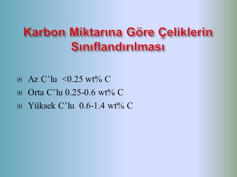  Az C'lu <0.25 wt% C  Orta C'lu 0.25-0.6 wt% C  Yüksek C'lu 0.6-1.4 wt% C