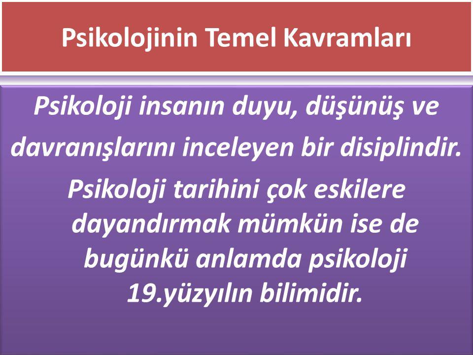 www.cemalsahin.comwww.cemalsahin.co m 24 Psikolojinin Temel Kavramları Psikoloji insanın duyu, düşünüş ve davranışlarını inceleyen bir disiplindir. Ps