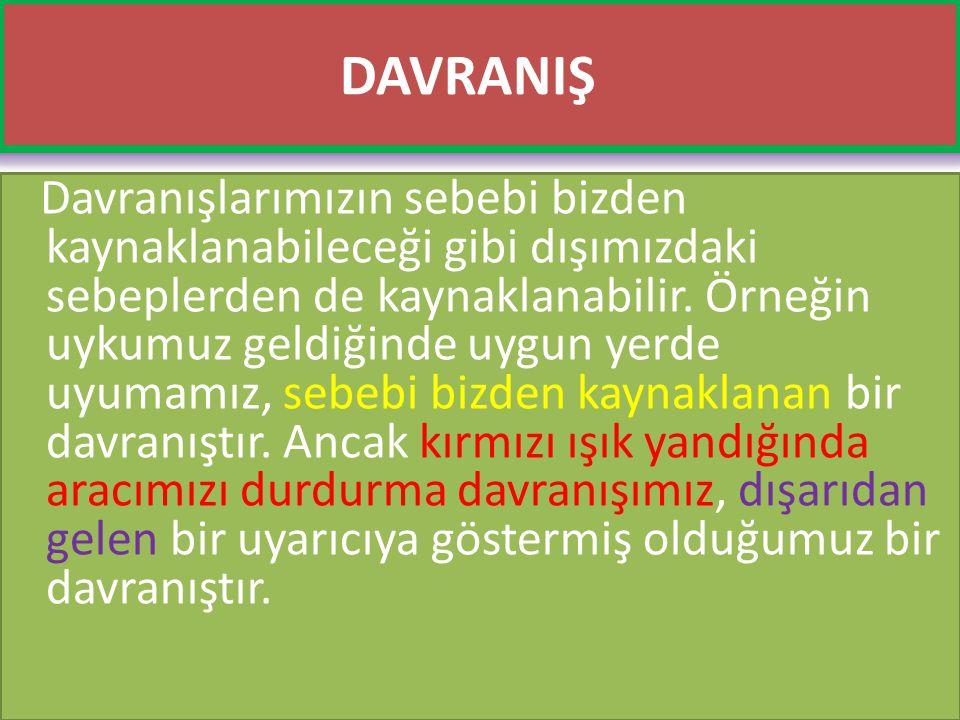 www.cemalsahin.comwww.cemalsahin.co m 27 DAVRANIŞ Davranışlarımızın sebebi bizden kaynaklanabileceği gibi dışımızdaki sebeplerden de kaynaklanabilir.