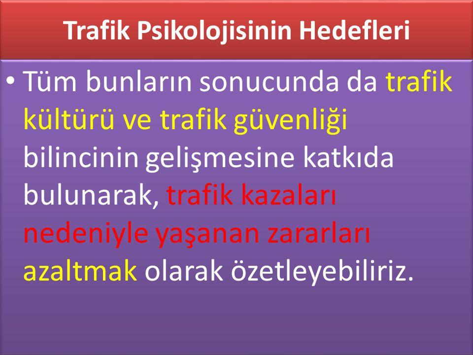 www.cemalsahin.comwww.cemalsahin.co m 61 Trafik Psikolojisinin Hedefleri Tüm bunların sonucunda da trafik kültürü ve trafik güvenliği bilincinin geliş