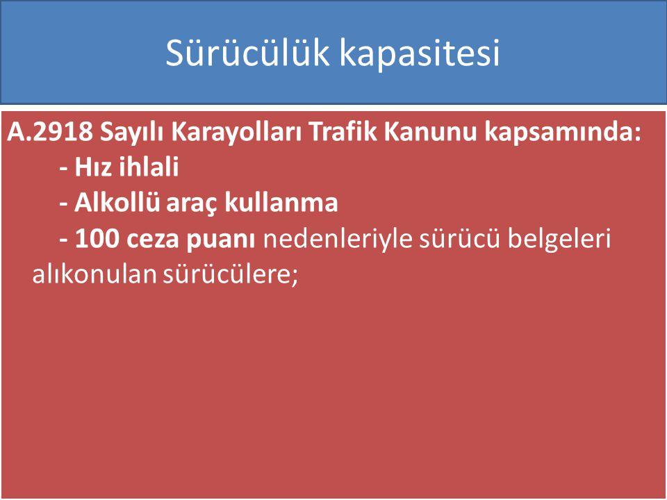 www.cemalsahin.comwww.cemalsahin.co m 68 Sürücülük kapasitesi A.2918 Sayılı Karayolları Trafik Kanunu kapsamında: - Hız ihlali - Alkollü araç kullanma