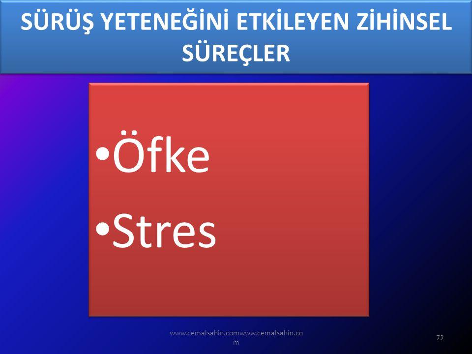 www.cemalsahin.comwww.cemalsahin.co m 72 SÜRÜŞ YETENEĞİNİ ETKİLEYEN ZİHİNSEL SÜREÇLER Öfke Stres Öfke Stres