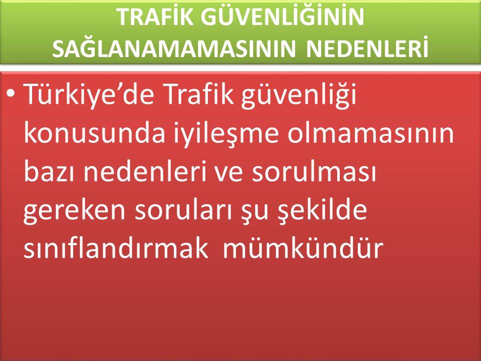 www.cemalsahin.comwww.cemalsahin.co m 96 TRAFİK GÜVENLİĞİNİN SAĞLANAMAMASININ NEDENLERİ Türkiye'de Trafik güvenliği konusunda iyileşme olmamasının baz