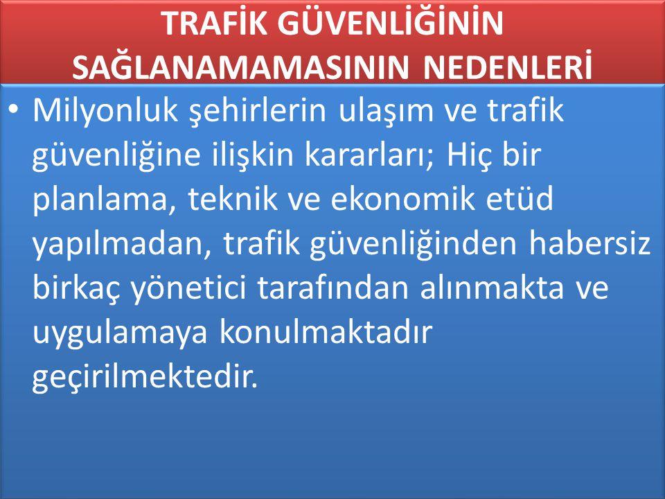 www.cemalsahin.comwww.cemalsahin.co m 98 TRAFİK GÜVENLİĞİNİN SAĞLANAMAMASININ NEDENLERİ Milyonluk şehirlerin ulaşım ve trafik güvenliğine ilişkin kara