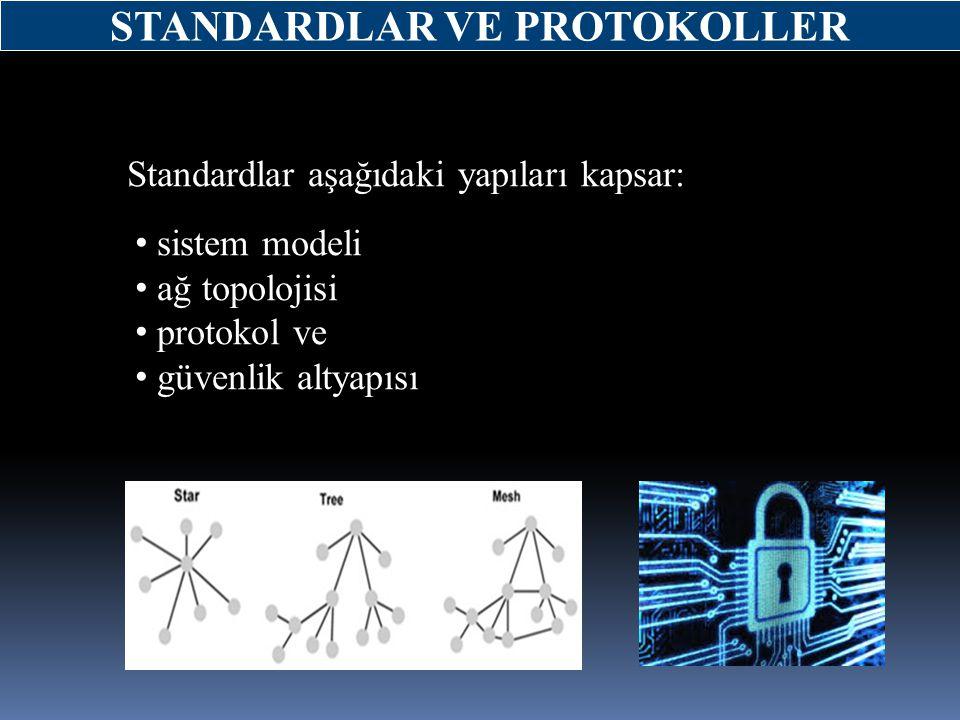 Standardlar aşağıdaki yapıları kapsar: sistem modeli ağ topolojisi protokol ve güvenlik altyapısı STANDARDLAR VE PROTOKOLLER