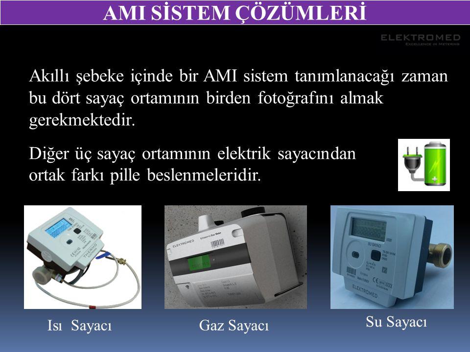 Akıllı şebeke içinde bir AMI sistem tanımlanacağı zaman bu dört sayaç ortamının birden fotoğrafını almak gerekmektedir. Isı SayacıGaz Sayacı Su Sayacı