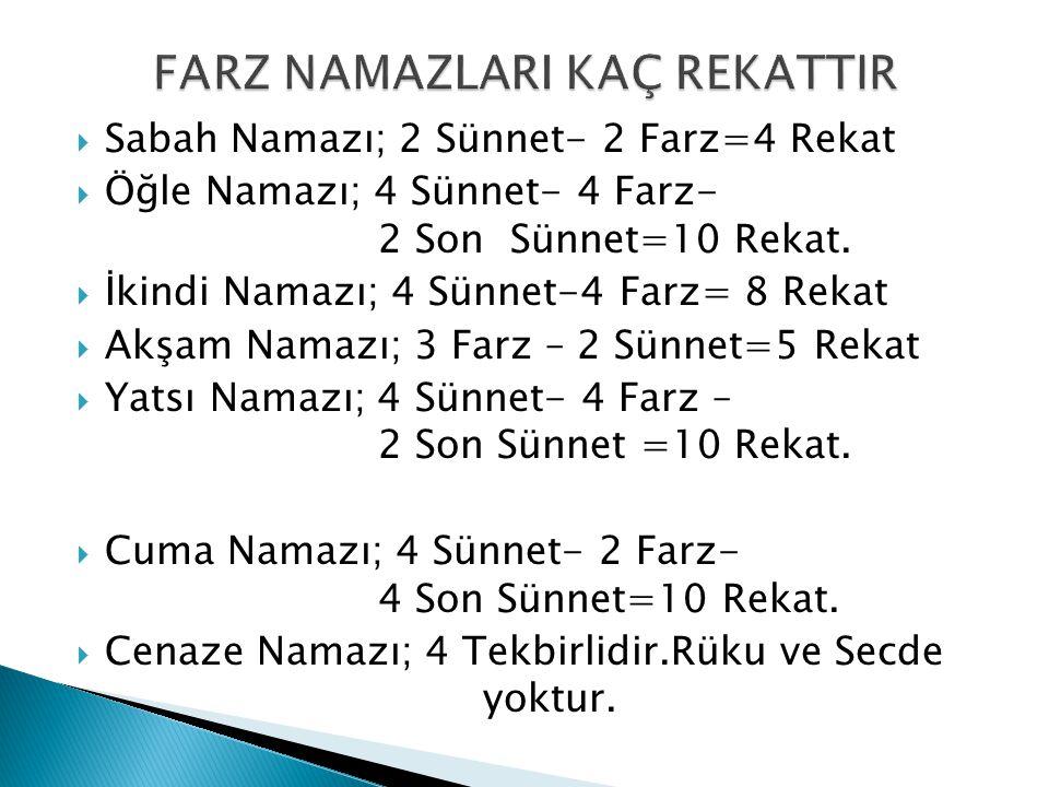  Sabah Namazı; 2 Sünnet- 2 Farz=4 Rekat  Öğle Namazı; 4 Sünnet- 4 Farz- 2 Son Sünnet=10 Rekat.  İkindi Namazı; 4 Sünnet-4 Farz= 8 Rekat  Akşam Nam