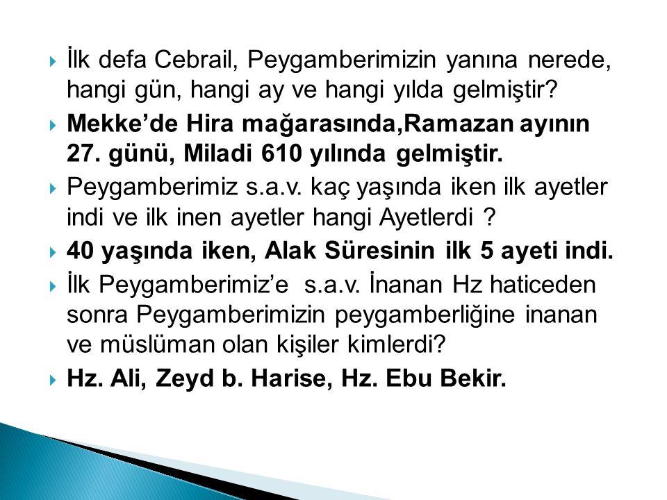 İİlk defa Cebrail, Peygamberimizin yanına nerede, hangi gün, hangi ay ve hangi yılda gelmiştir? MMekke'de Hira mağarasında,Ramazan ayının 27. günü
