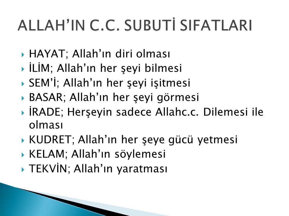  HAYAT; Allah'ın diri olması  İLİM; Allah'ın her şeyi bilmesi  SEM'İ; Allah'ın her şeyi işitmesi  BASAR; Allah'ın her şeyi görmesi  İRADE; Herşeyin sadece Allahc.c.