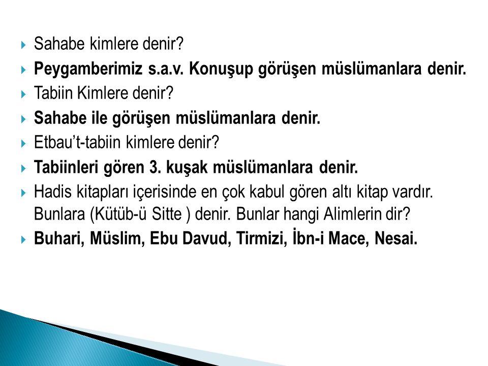 SSahabe kimlere denir? PPeygamberimiz s.a.v. Konuşup görüşen müslümanlara denir. TTabiin Kimlere denir? SSahabe ile görüşen müslümanlara denir