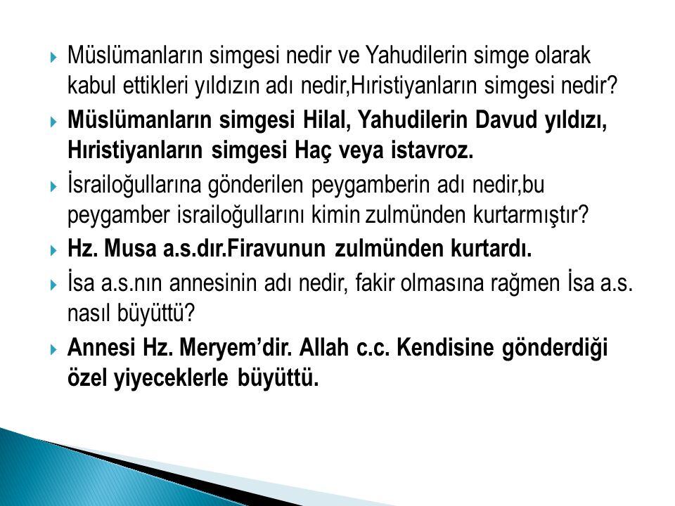 MMüslümanların simgesi nedir ve Yahudilerin simge olarak kabul ettikleri yıldızın adı nedir,Hıristiyanların simgesi nedir? MMüslümanların simgesi