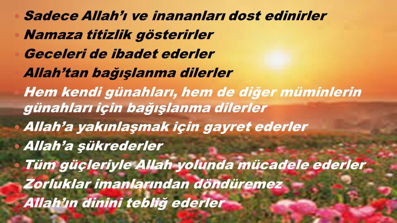 Sadece Allah'ı ve inananları dost edinirler Namaza titizlik gösterirler Geceleri de ibadet ederler Allah'tan bağışlanma dilerler Hem kendi günahları,