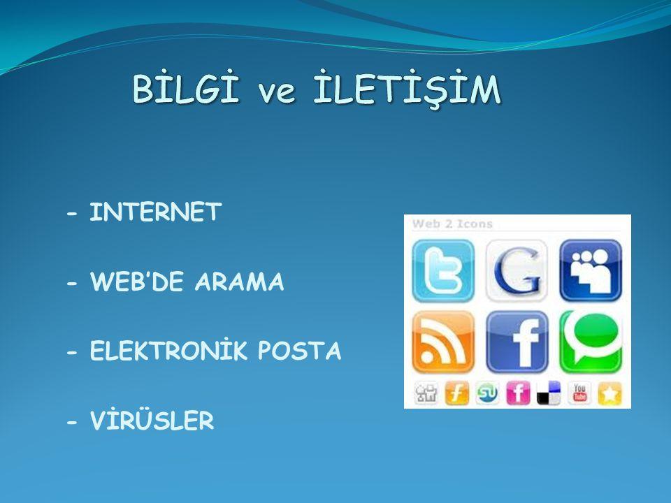 - INTERNET - WEB'DE ARAMA - ELEKTRONİK POSTA - VİRÜSLER