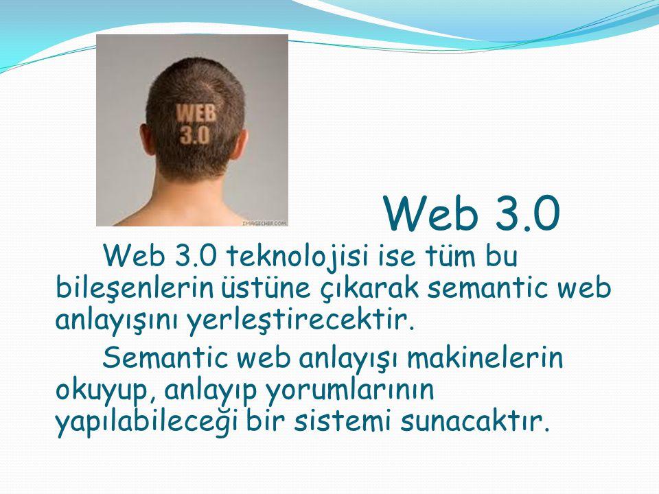 Web 3.0 Web 3.0 teknolojisi ise tüm bu bileşenlerin üstüne çıkarak semantic web anlayışını yerleştirecektir. Semantic web anlayışı makinelerin okuyup,