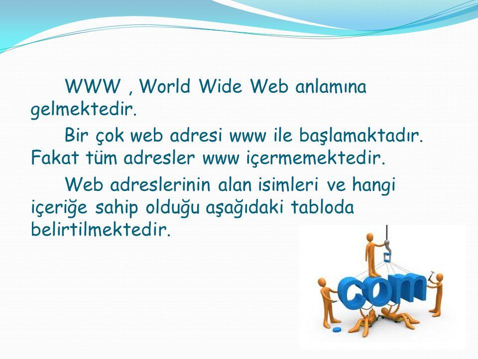 WWW, World Wide Web anlamına gelmektedir. Bir çok web adresi www ile başlamaktadır. Fakat tüm adresler www içermemektedir. Web adreslerinin alan isiml