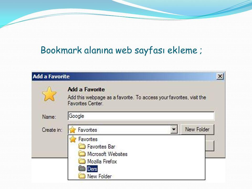 Bookmark alanına web sayfası ekleme ;