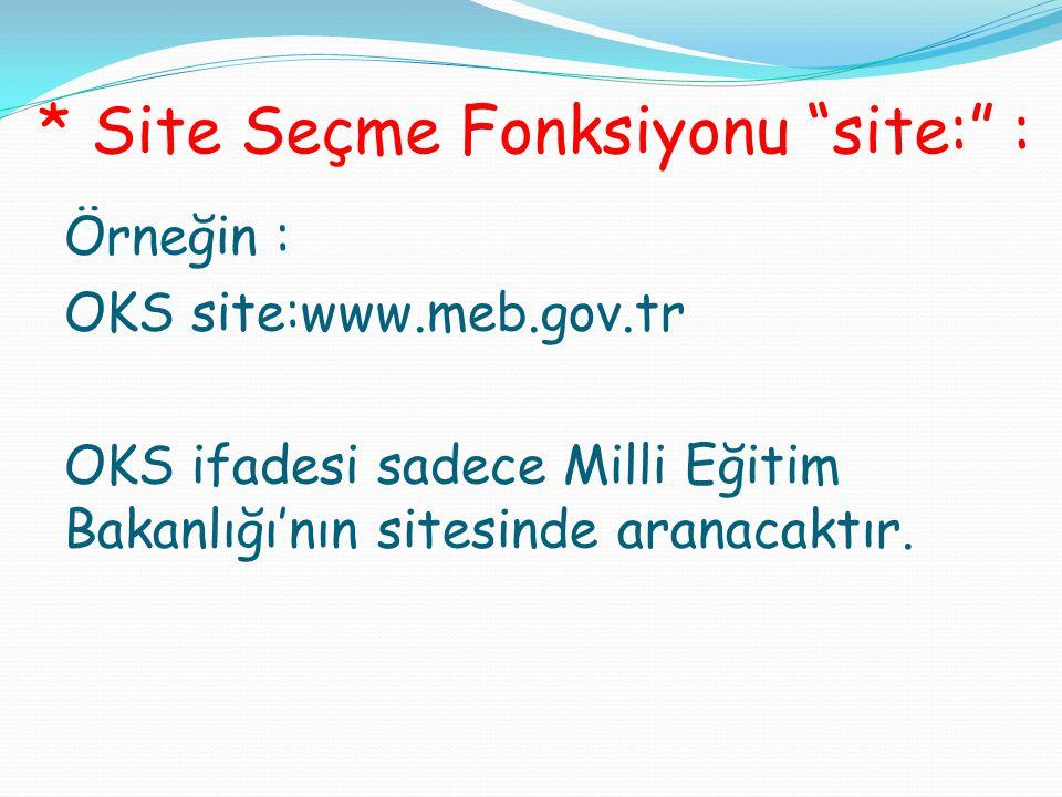 """* Site Seçme Fonksiyonu """"site:"""" : Örneğin : OKS site:www.meb.gov.tr OKS ifadesi sadece Milli Eğitim Bakanlığı'nın sitesinde aranacaktır."""
