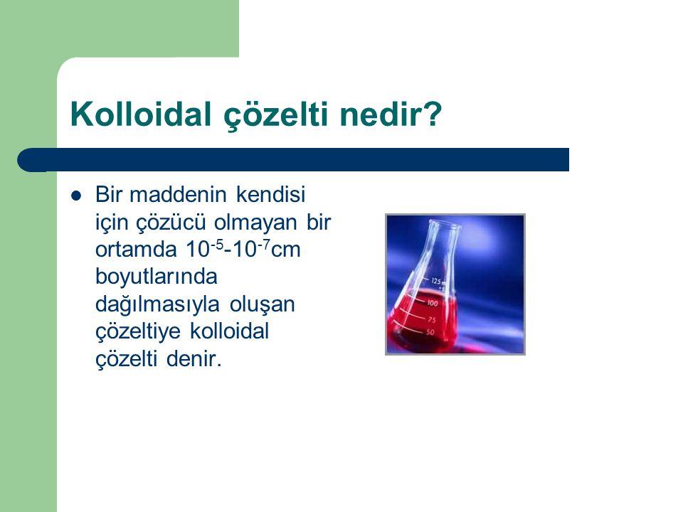 Kolloidal çözelti nedir? Bir maddenin kendisi için çözücü olmayan bir ortamda 10 -5 -10 -7 cm boyutlarında dağılmasıyla oluşan çözeltiye kolloidal çöz