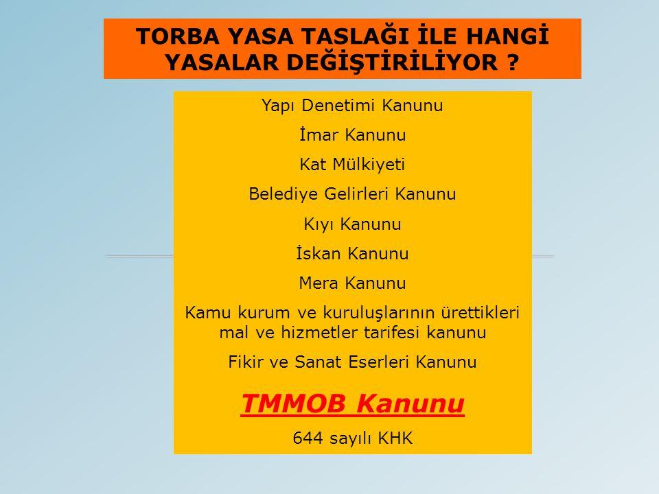 TORBA YASA TASLAĞI TMMOB İLE İLGİLİ NELERİ DEĞİŞİYOR .