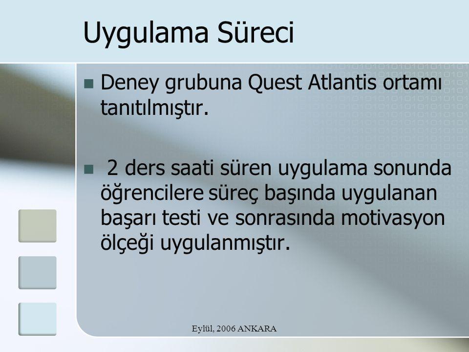 Eylül, 2006 ANKARA Uygulama Süreci Deney grubuna Quest Atlantis ortamı tanıtılmıştır. 2 ders saati süren uygulama sonunda öğrencilere süreç başında uy