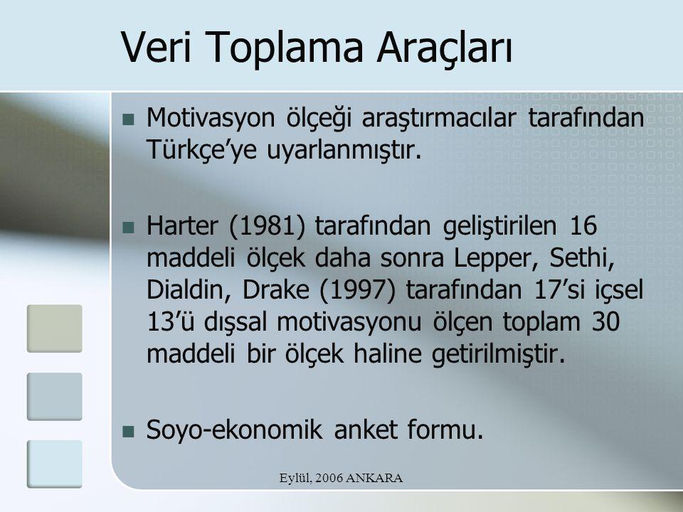Eylül, 2006 ANKARA Veri Toplama Araçları Motivasyon ölçeği araştırmacılar tarafından Türkçe'ye uyarlanmıştır. Harter (1981) tarafından geliştirilen 16