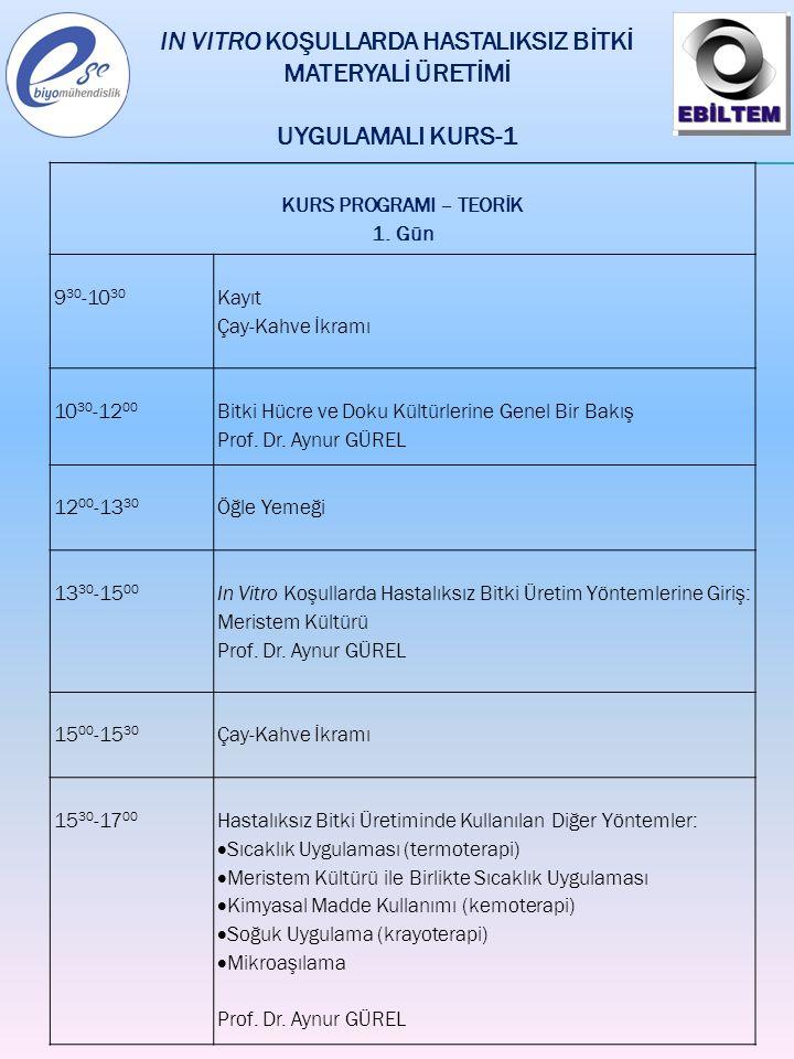 KURS PROGRAMI – TEORİK 1. Gün 9 30 -10 30 Kayıt Çay-Kahve İkramı 10 30 -12 00 Bitki Hücre ve Doku Kültürlerine Genel Bir Bakış Prof. Dr. Aynur GÜREL 1
