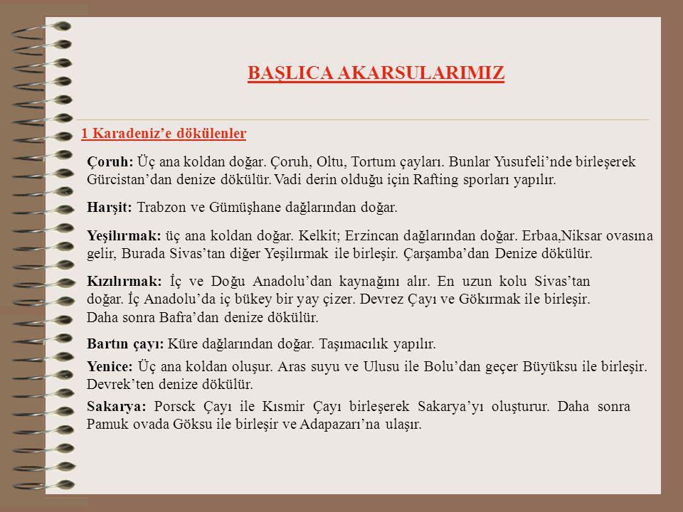 BAŞLICA AKARSULARIMIZ 1 Karadeniz'e dökülenler Çoruh: Üç ana koldan doğar.