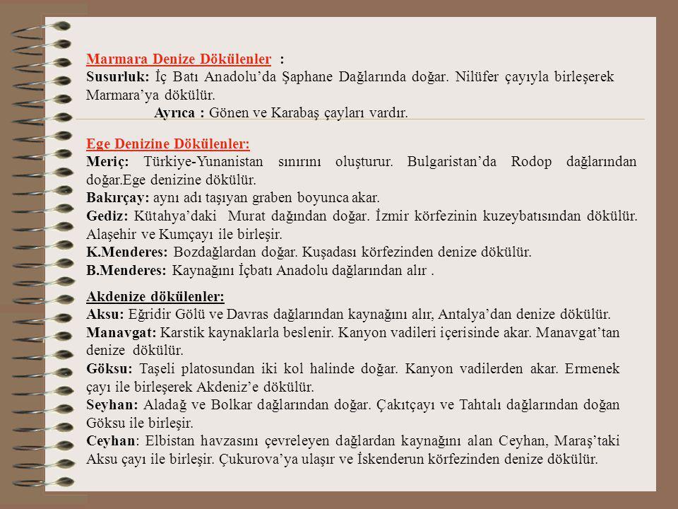 BAŞLICA AKARSULARIMIZ 1 Karadeniz'e dökülenler Çoruh: Üç ana koldan doğar. Çoruh, Oltu, Tortum çayları. Bunlar Yusufeli'nde birleşerek Gürcistan'dan d