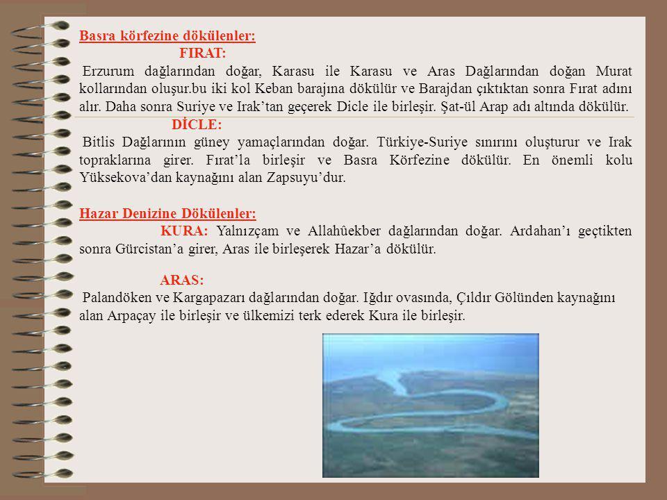 Marmara Denize Dökülenler : Susurluk: İç Batı Anadolu'da Şaphane Dağlarında doğar. Nilüfer çayıyla birleşerek Marmara'ya dökülür. Ayrıca : Gönen ve Ka
