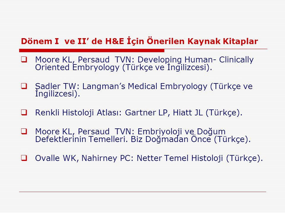 Dönem I ve II' de H&E İçin Önerilen Kaynak Kitaplar  Moore KL, Persaud TVN: Developing Human- Clinically Oriented Embryology (Türkçe ve İngilizcesi).