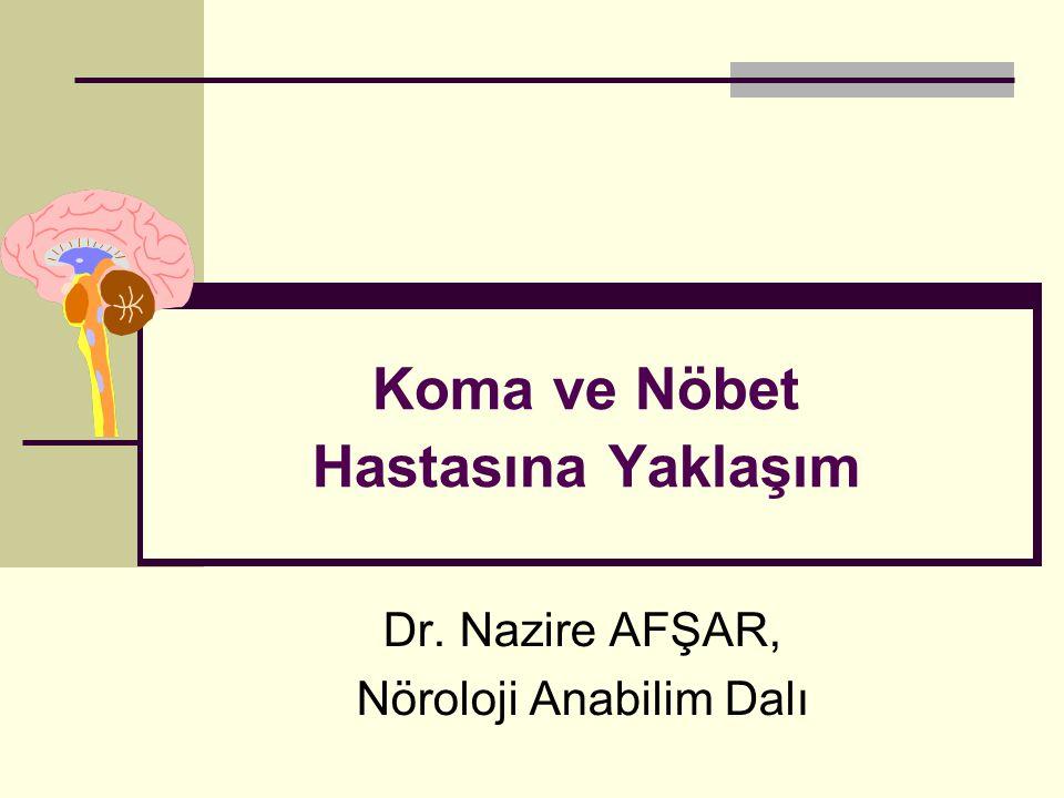 İstanbul, Kasım 2011 ABC ve oksijenasyon Yanıt alınamayan hasta Bilinç kapalı Bilinci Kapalı Hastaya Yaklaşım hayır Psikojen, locked-in synd, N-M paralizi, rigidite Uygun yaklaşım evet Kan gazları, glu, elektrolitler, Ca, Mg, üre, Cre, NH3, AST, tox tarama, ıv glu, naloksan, flumazenil Beyinsapı bulguları?