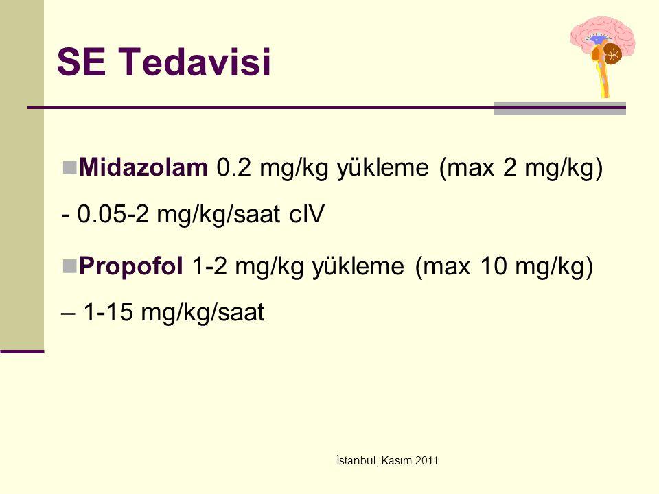 İstanbul, Kasım 2011 SE Tedavisi Midazolam 0.2 mg/kg yükleme (max 2 mg/kg) - 0.05-2 mg/kg/saat cIV Propofol 1-2 mg/kg yükleme (max 10 mg/kg) – 1-15 mg