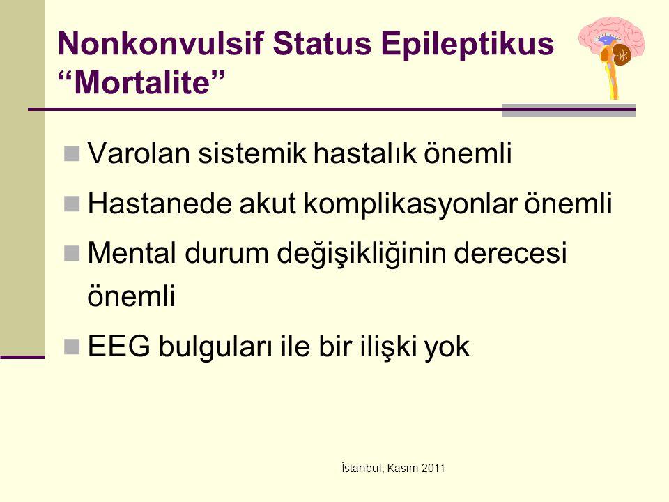 "İstanbul, Kasım 2011 Nonkonvulsif Status Epileptikus ""Mortalite"" Varolan sistemik hastalık önemli Hastanede akut komplikasyonlar önemli Mental durum d"