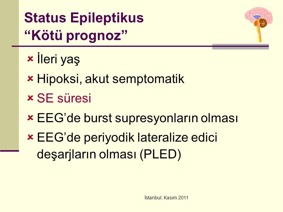 """İstanbul, Kasım 2011 Status Epileptikus """"Kötü prognoz""""  İleri yaş  Hipoksi, akut semptomatik  SE süresi  EEG'de burst supresyonların olması  EEG'"""