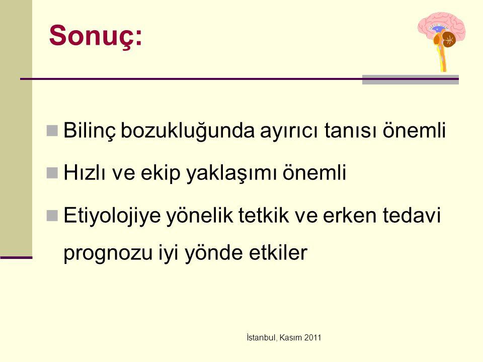 İstanbul, Kasım 2011 Sonuç: Bilinç bozukluğunda ayırıcı tanısı önemli Hızlı ve ekip yaklaşımı önemli Etiyolojiye yönelik tetkik ve erken tedavi progno
