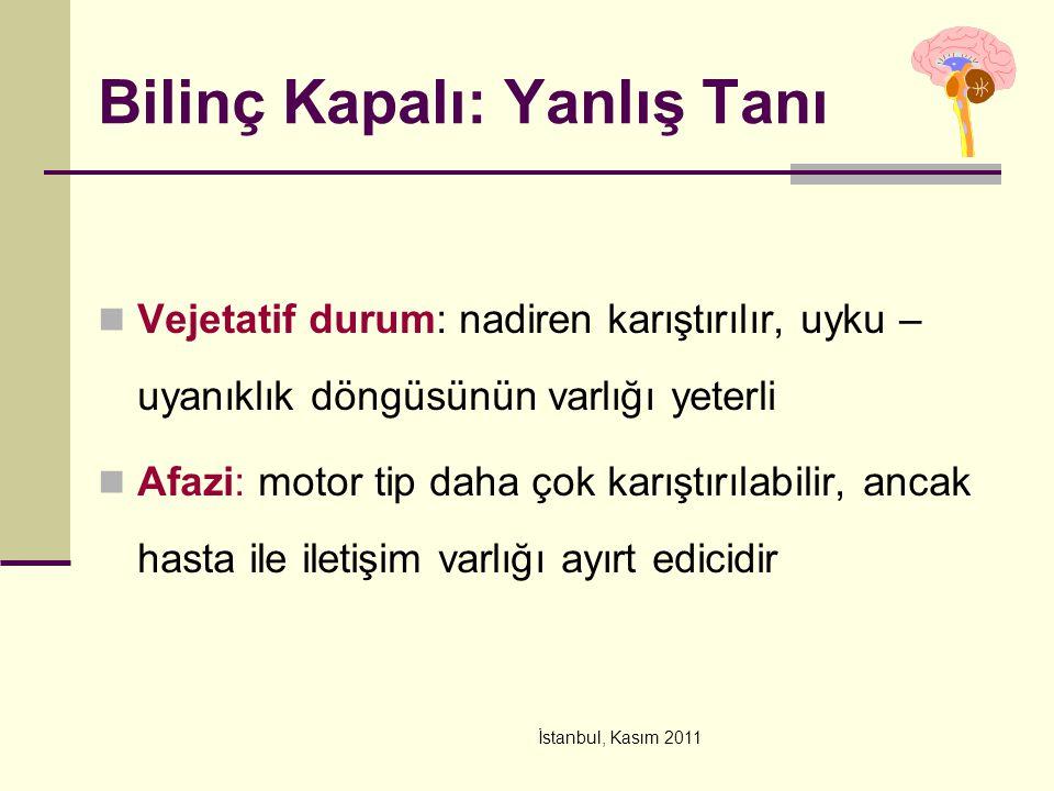 İstanbul, Kasım 2011 Vejetatif durum: nadiren karıştırılır, uyku – uyanıklık döngüsünün varlığı yeterli Afazi: motor tip daha çok karıştırılabilir, an