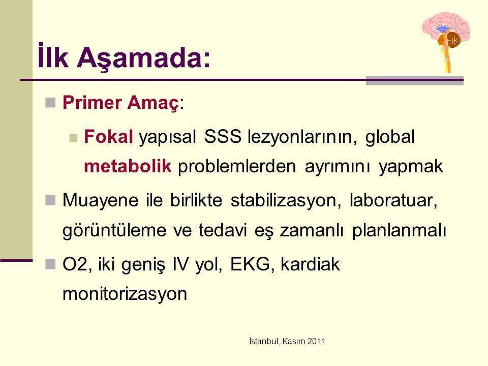 İstanbul, Kasım 2011 İlk Aşamada: Primer Amaç: Fokal yapısal SSS lezyonlarının, global metabolik problemlerden ayrımını yapmak Muayene ile birlikte st