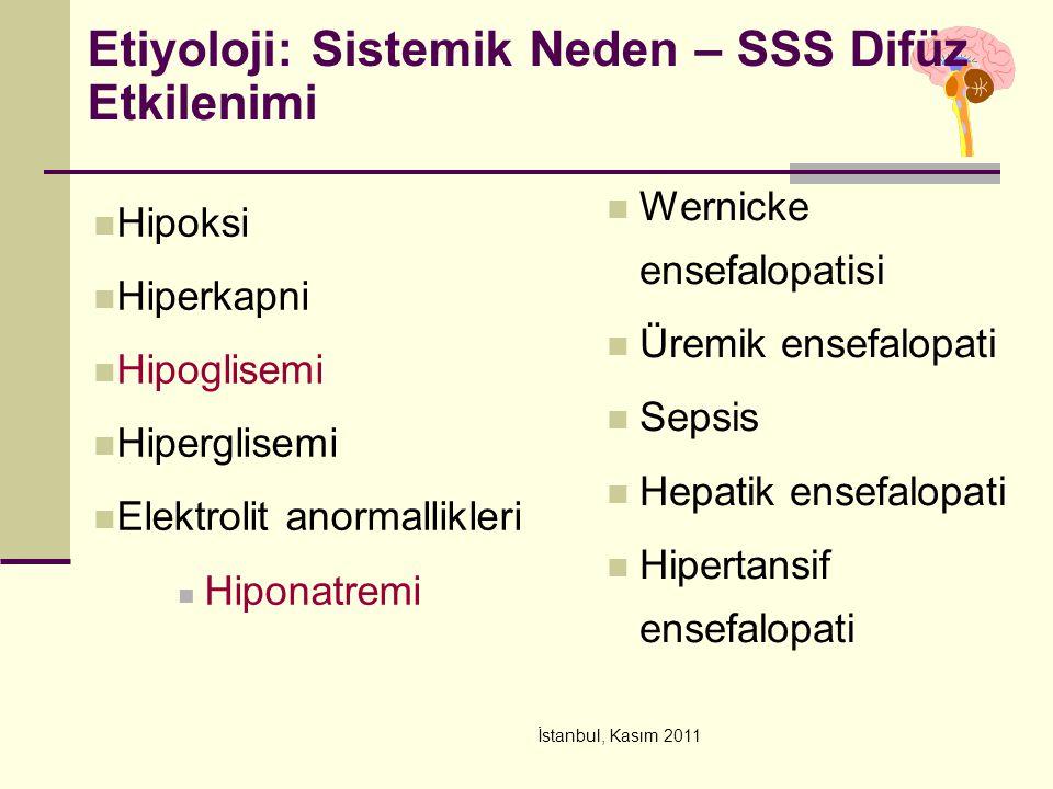 İstanbul, Kasım 2011 Etiyoloji: Sistemik Neden – SSS Difüz Etkilenimi Hipoksi Hiperkapni Hipoglisemi Hiperglisemi Elektrolit anormallikleri Hiponatrem