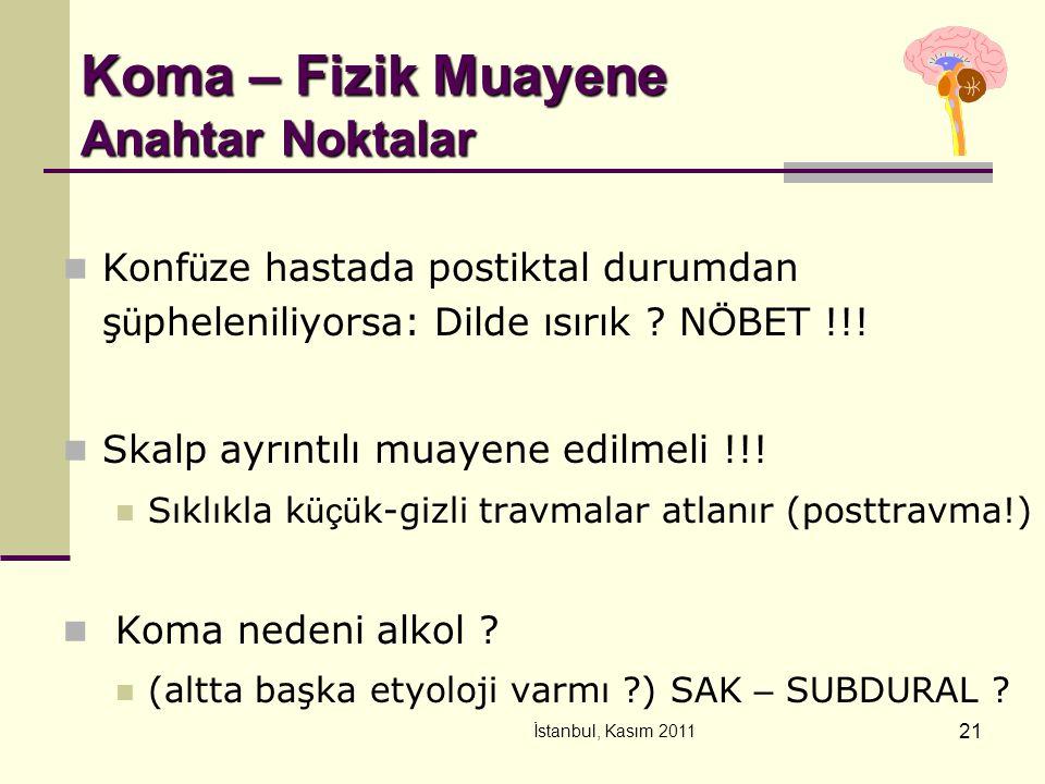 İstanbul, Kasım 2011 21 Koma – Fizik Muayene Anahtar Noktalar Konf ü ze hastada postiktal durumdan ş ü pheleniliyorsa: Dilde ısırık ? N Ö BET !!! Skal