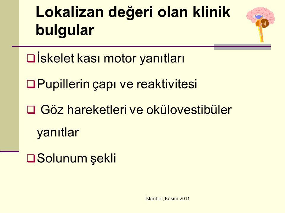 İstanbul, Kasım 2011 Lokalizan değeri olan klinik bulgular  İskelet kası motor yanıtları  Pupillerin çapı ve reaktivitesi  Göz hareketleri ve okülo