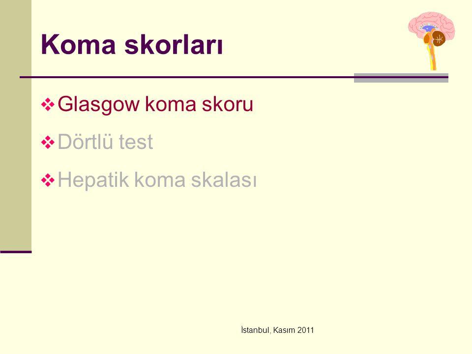 İstanbul, Kasım 2011 Koma skorları  Glasgow koma skoru  Dörtlü test  Hepatik koma skalası
