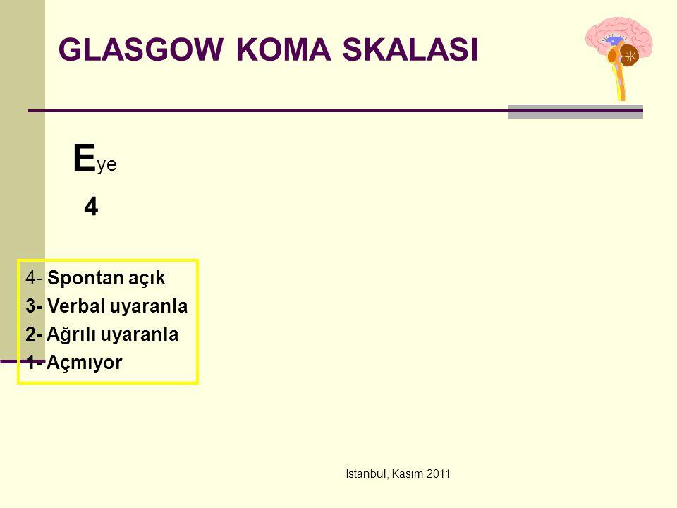 İstanbul, Kasım 2011 GLASGOW KOMA SKALASI E ye 4 4- Spontan açık 3- Verbal uyaranla 2- Ağrılı uyaranla 1- Açmıyor