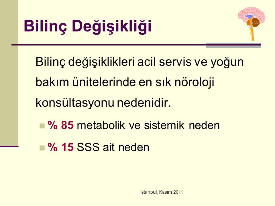 İstanbul, Kasım 2011 Bilinç Değişikliği Bilinç değişiklikleri acil servis ve yoğun bakım ünitelerinde en sık nöroloji konsültasyonu nedenidir. % 85 me