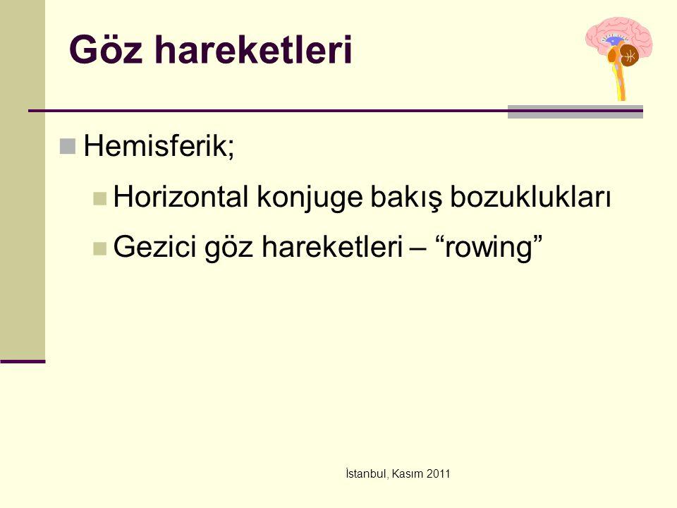 """İstanbul, Kasım 2011 Göz hareketleri Hemisferik; Horizontal konjuge bakış bozuklukları Gezici göz hareketleri – """"rowing"""""""
